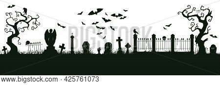 Halloween Nightmare Landscape. Cartoon Spooky Halloween Cemetery Landscape Vector Background Illustr