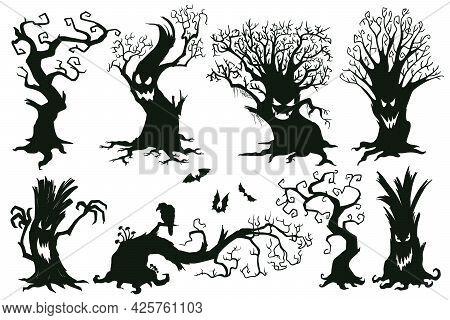 Halloween Spooky Trees. Cartoon Hooked Trees, Scary Halloween Trees With Muzzles Vector Illustration