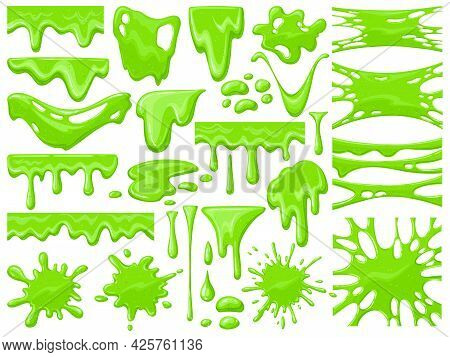 Cartoon Slime Dripping. Green Sticky Alien Slime Blobs, Spooky Halloween Toxic Slime Dripping Vector