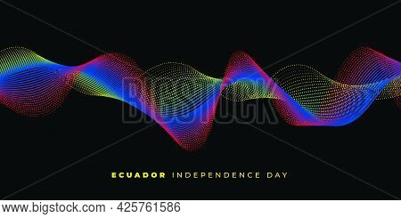 Ecuador Independence Day Background Design With Waving Dots. Good Template For Ecuador National Day