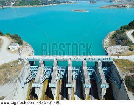 Aerial View Of Water Reservoir And Closed Reservoir Locks Of A Dam. Berdan Dam, Tarsus, Mersin Provi