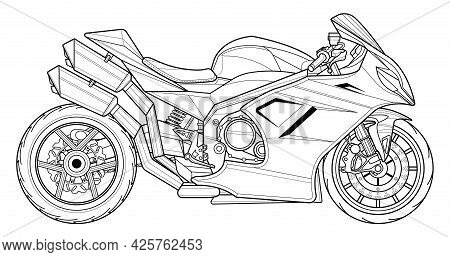 Adult Motorcycle Vector Illustration Coloring Page For Book And Drawing. Line Art Without Fill. Race