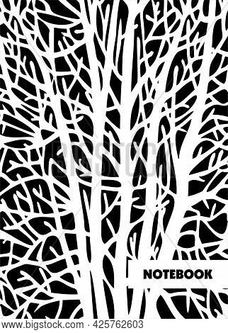 Book Cover Design. Notebook For College, A School Notebook. Vector Illustration. Black Silhouettes O