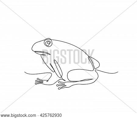 Continuous Line Art Drawing Of Frog. Minimalist Black Outline Art Frog Isolated On White Background.