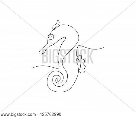 Seahorse Continuous Line Art Drawing Style. Minimalist Black Hippocampus Zosterae Outline. Editable