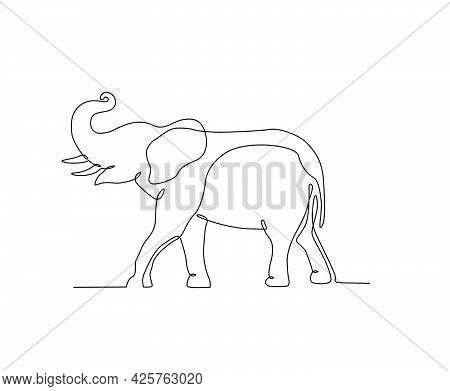 Elephant In Continuous Line Art Drawing Style. Minimalist Black Big Elephant Outline. Editable Activ