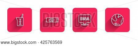 Set Line Laboratory Glassware Or Beaker, Blood Test And Virus, Dna Symbol And Earth Globe With Long