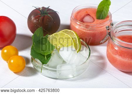 Tomatoes Pulp, Lemon, Mint Leaves, Ice Cubes - Ingredients For Organic Home Made Cosmetic. Natural D