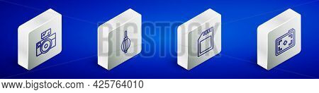 Set Isometric Line Photo Camera With Flash, Dust Blower, Sd Card And Icon. Vector