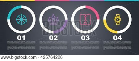 Set Line Circle Of Pieces, Scales Justice, Depth Measurement And Wrist Watch. Business Infographic T