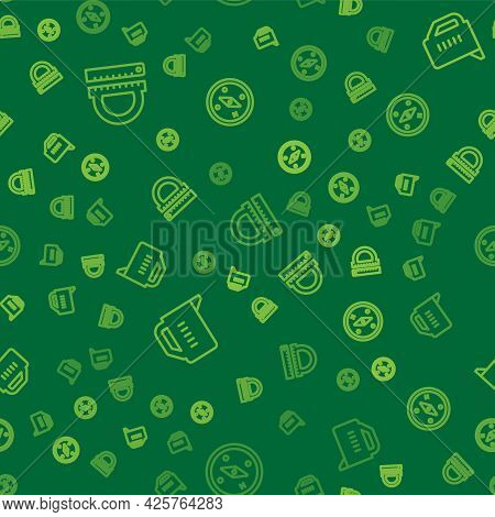Set Line Protractor And Ruler, Measuring Cup And Compass On Seamless Pattern. Vector