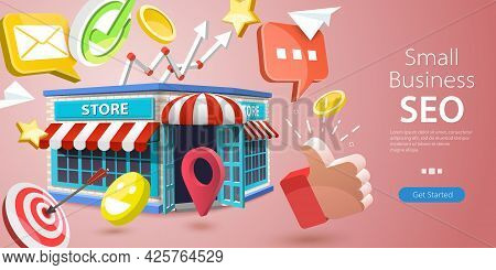 3d Vector Conceptual Illustration Of Small Business Seo, Local Store Marketing