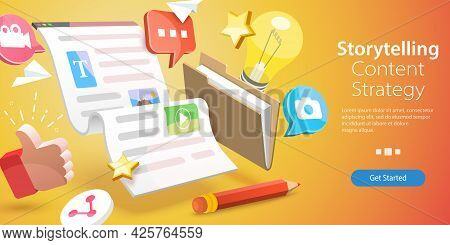3d Vector Conceptual Illustration Of Storytelling Marketing, Interactive Content Strategy