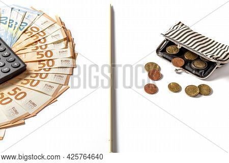 Euro Bills On The Table And A Wallet With Change. Poverty And Wealth Concept. Rich And Poor. Below T