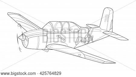Line Art Adult Military Aircraft Coloring Page For Book And Drawing. Airplane. Vector Illustration.