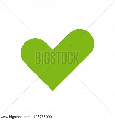 Check Heart Icon Vector. Love Check Mark Sign In Flat Style. Tick Symbol Isolated On White Backgroun