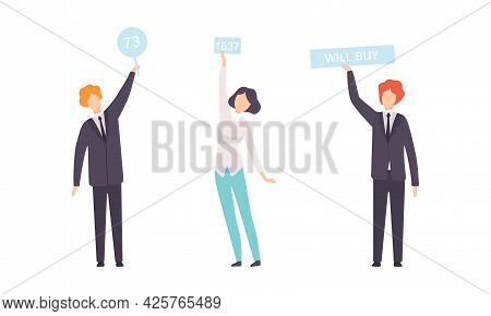 Set Of People Bidding In Public Auction, Buyers Holding Paddles Flat Vector Illustration