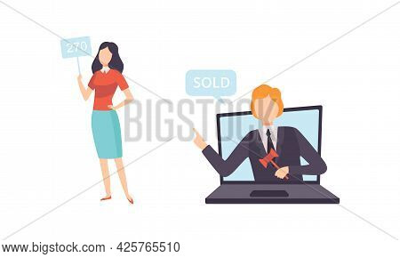 People Bidding In Internet Auction, Buyers And Auctioneer Selling Artworks Online Flat Vector Illust