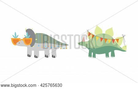 Cute Dinosaurs In Party Hats Celebrating Holidays Set, Adorable Funny Dino Characters Wirh Party Fla