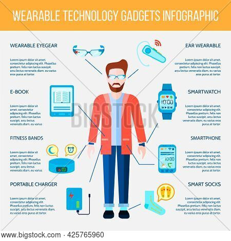 Wearable Gadgets Infographic Set. Wearable Gadgets Information.wearable Gadgets Flat Set. Wearable G