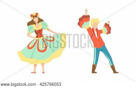 Couple In Traditional Costumes Dancing At Folklore Party Set, Traditional Latin American Festival, F