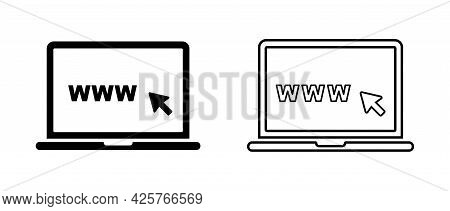 Click And Www Search In Laptop Vector Icon. Concept Of Using A Personal Computer. Vector Illustratio