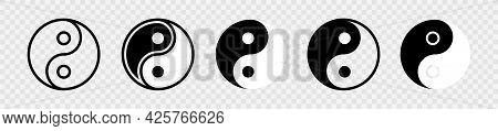 Yin Yang Icon Set. Harmony And Balance Sign On White Background. Black And White Taoism Symbol. Isol