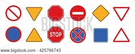 Road And Highway Signs In Realistic Style Isolated On White Background. Set Danger Warning Sign. Moc