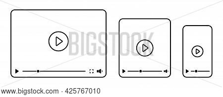 Video Player Interface For Different Devices Mobile, Laptop And Tablet Screen. Video Player Template