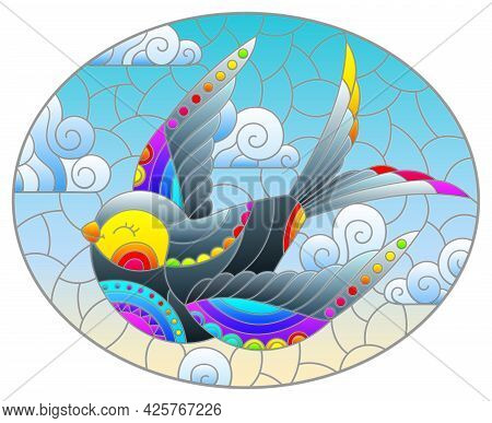 Illustration In The Style Of A Stained Glass Window With A Bright Cartoon Swallow And Butterfly Agai
