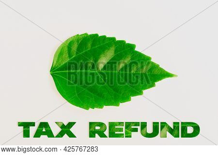 Writing Displaying Text Tax Refund. Concept Meaning Excess Payment Of Paid Taxes Returned To Busines