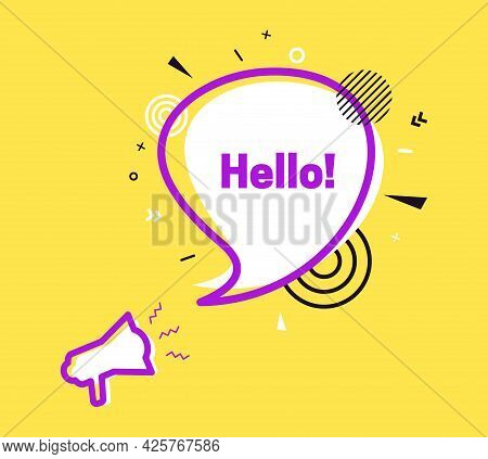 Hello Speech Bubble In Flat Style. Hi White Label With Loudspeaker. Pink Outline Megaphone On Yellow