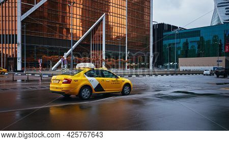 Cab Car Near Mercury Tower Business Center Moscow City: Moscow, Russia - April 21, 2021
