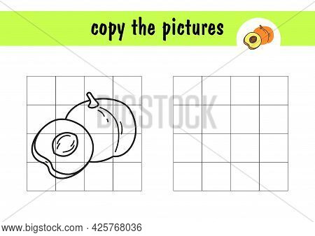 Children S Simple Mini-game - Draw A Peach On Paper. Copy The Fruit Picture Using Grid Lines, Simple