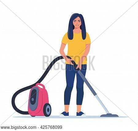 Woman Enjoy Cleaning House With Vacuum Cleaner. Smiling Girl Cleans The House. Woman Character Vacuu