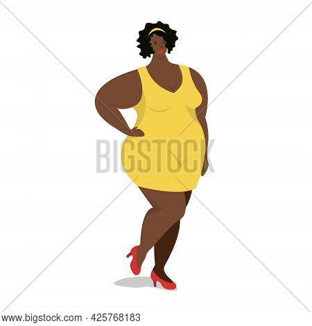 Attractive Overweight African American Woman Is Standing. Female Cartoon Flat Style Character. Body