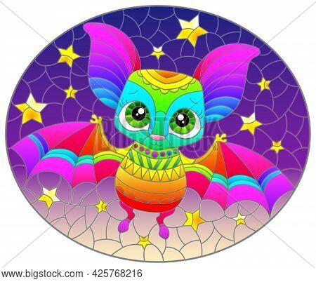 Illustration In The Style Of A Stained Glass Window With A Cute Cartoon Rainbow Bat, An Animal On Th