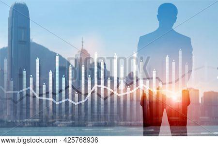Histogram And Lines Economic Chart Instrument On Modern Metropolis