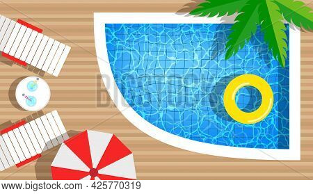 Swimming Pool With Swimming Rings, Umbrella And Deck Chair. Top View. Summer Vacation Hotel Club Res
