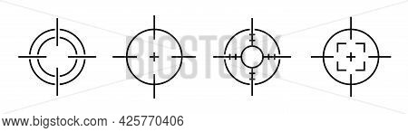 Target And Aim Icon Collection. Game Sign. Focus Symbol Isolated On Black Background. Vector Illustr