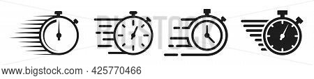 Timer Icons Set. Quick Time Or Deadline Icon. Express Service Symbol. Countdown Timer And Stopwatch