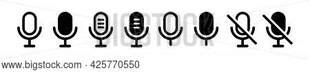 Microphone Flat Icon Collection. Studio Different Simple Icons Set. Sound Symbol. Retro Button Isola