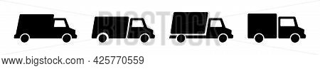 Free Delivery Truck Icon Set. Express Van Delivery Service Symbol. Fast Online Shopping Truck.