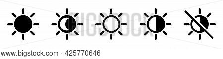 Screen Brightness Level Icon. Day And Night Slider Level Control. Brightness Contrast On White Backg