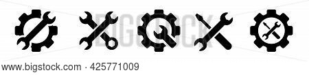 Mechanical Gear Icon With Wrench In The Middle For Repair On White Background. Setting Icons Set. St