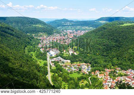 Lichtenstein Town View From Lichtenstein Castle, Germany, Europe. Landscape Of Black Forest In Swabi