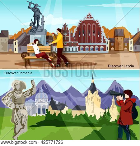 European Countries Flat Concept. Europe And Sights Horizontal Compositions. European Cities Vector I