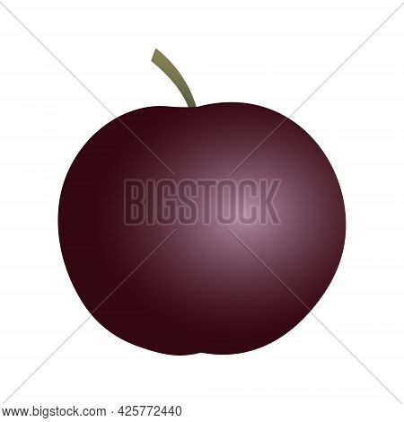 Isolated Round Flat Art Plum With A Stem In Purple And Ruby Color On White Background