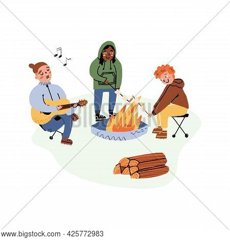 Outdoor Pastime With Friends, Camping Vacation Set. Friends Around A Bonfire Playing Guitar, Frying