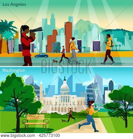 American Cityscapes Flat Concept. Usa Sights With People Compositions Set. Us Cities Vector Illustra
